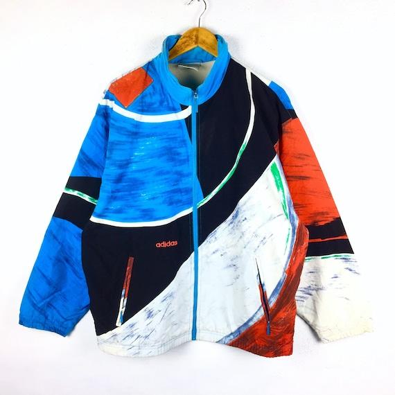 Vintage Adidas Jacket Adidas Windbreaker Hoodie Jacket Adidas Def Jam Adidas Run DMC Retro Fashion Original Discoloration Design
