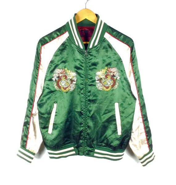 fc5d8ad0f RARE!! Vintage Sukajan Jacket Eagle / Tiger / Dragon Japan Yokosuka  Embroidery Souvenir Satin Jacket Bomber Jacket Retro Fashion