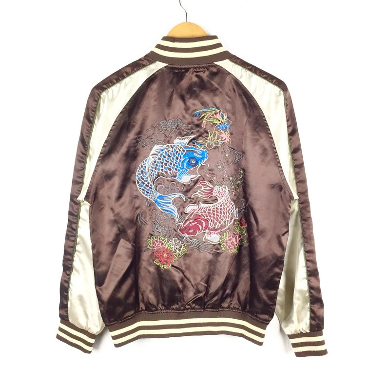 4b6713b2d RARE!! Vintage Sukajan Jacket Eagle / Tiger / Koi Fish Japan Yokosuka  Embroidery Souvenir Satin Jacket Bomber Jacket Retro Fashion