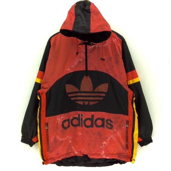 9beea27ebc745 Vintage Adidas Windbreaker Hoodie Jacket Big Logo Spellout     Etsy