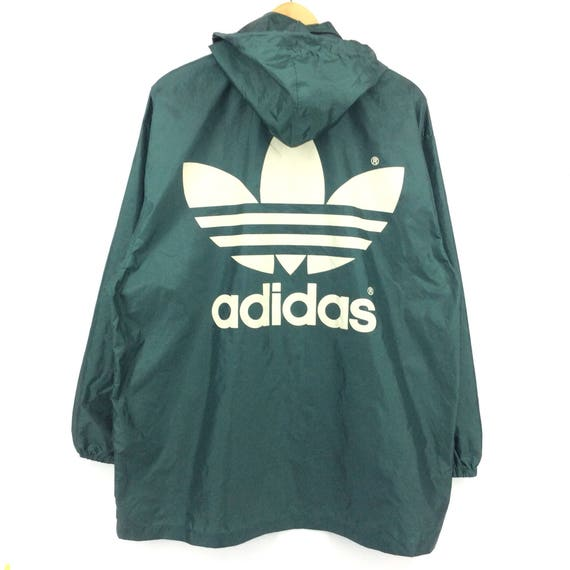 Vintage Adidas Windbreaker Jacket Big Logo Spellout Adidas Bomber Jacket Green and White Retro Fashion Rap Tees Hip Hop Swag