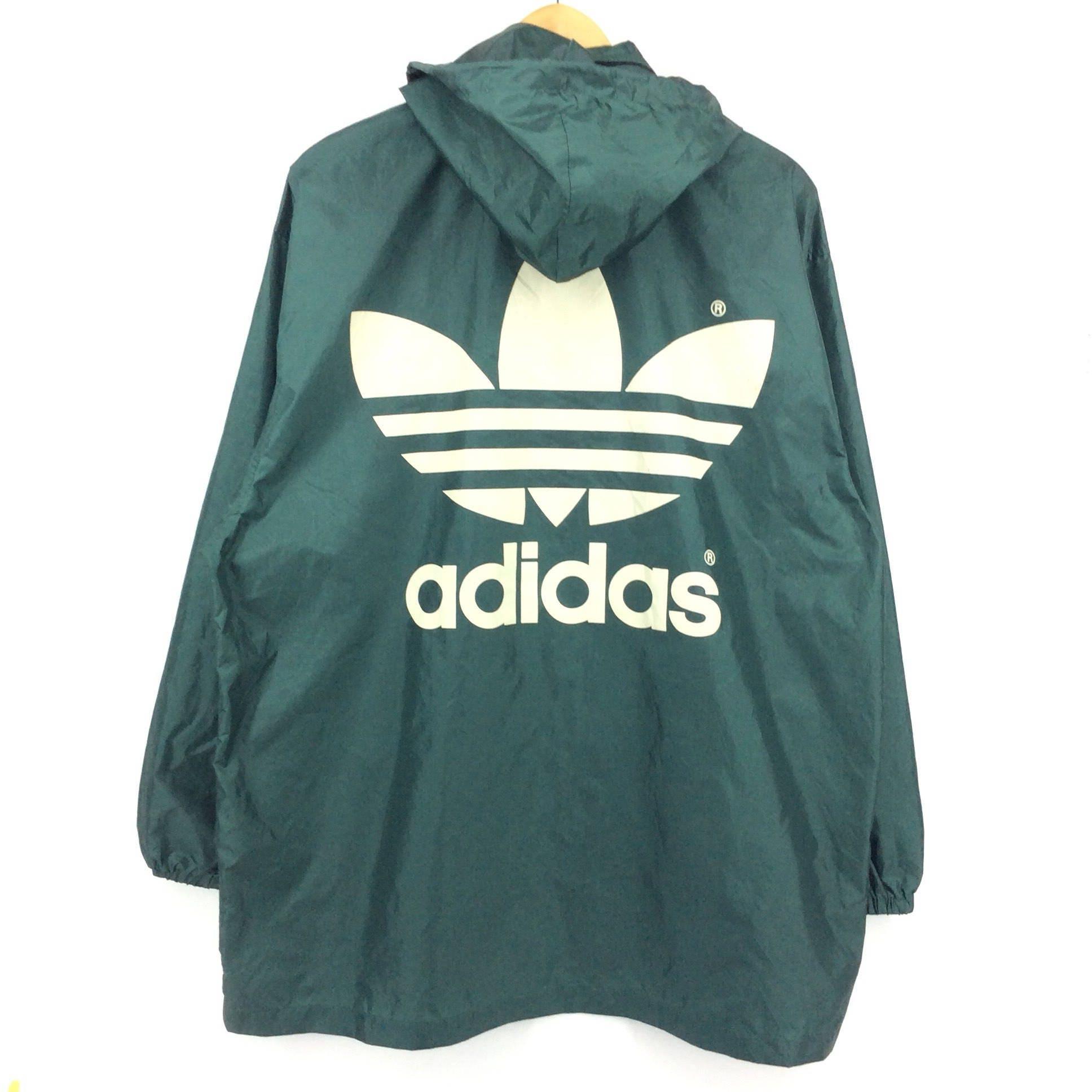 391feaa27d1bc Vintage Adidas Windbreaker Jacket Big Logo Spellout / Adidas Bomber Jacket  / Green and White Retro Fashion Rap Tees Hip Hop Swag