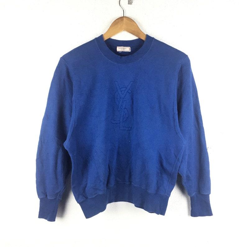 3013e79cb69 RARE Vintage Yves Saint Laurent Sweatshirt YSL Blue Color | Etsy