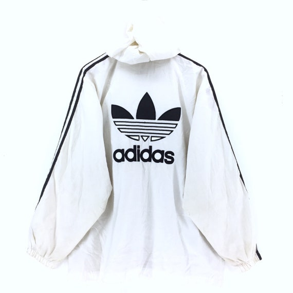 3eac960aa7456 Vintage Adidas Windbreaker Jacket / Adidas Hoodie / Adidas Bomber Jacket /  Black And White Retro Fashion Rap Tees Hip Hop Swag