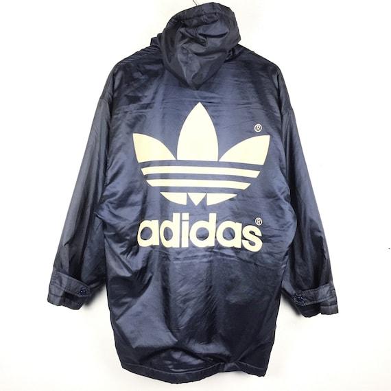 Vintage Adidas Long Jacket Big Logo Spellout Adidas winter Jacket Retro Fashion Rap Tees Hip Hop Adidas Parka Vintage 90s