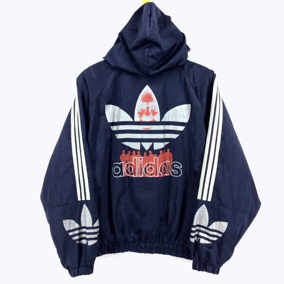 21163879e8507 Vintage Adidas Windbreaker Jacket Big Logo Spellout / Adidas Bomber Jacket  / Adidas Def Jam / Adidas Run DMC Retro Fashion Rap Tees Hip Hop