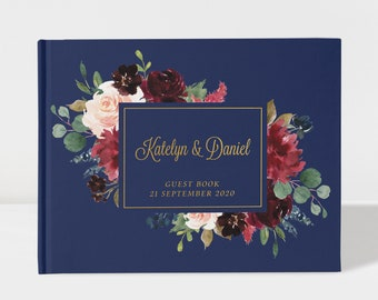 Elegant Burgundy Blush Floral GuestBook Signature Guest Book Alternative CGB217 SALE 50/% Off Canvas Guest Book Bridal Shower Gift Ideas
