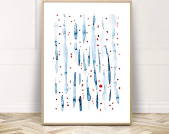 Minimalist Watercolor Print Poster,Large Abstract Painting Wall Art,Instant Download Home Decor,Gift for Her,Red Blue Dots Bedroom Art