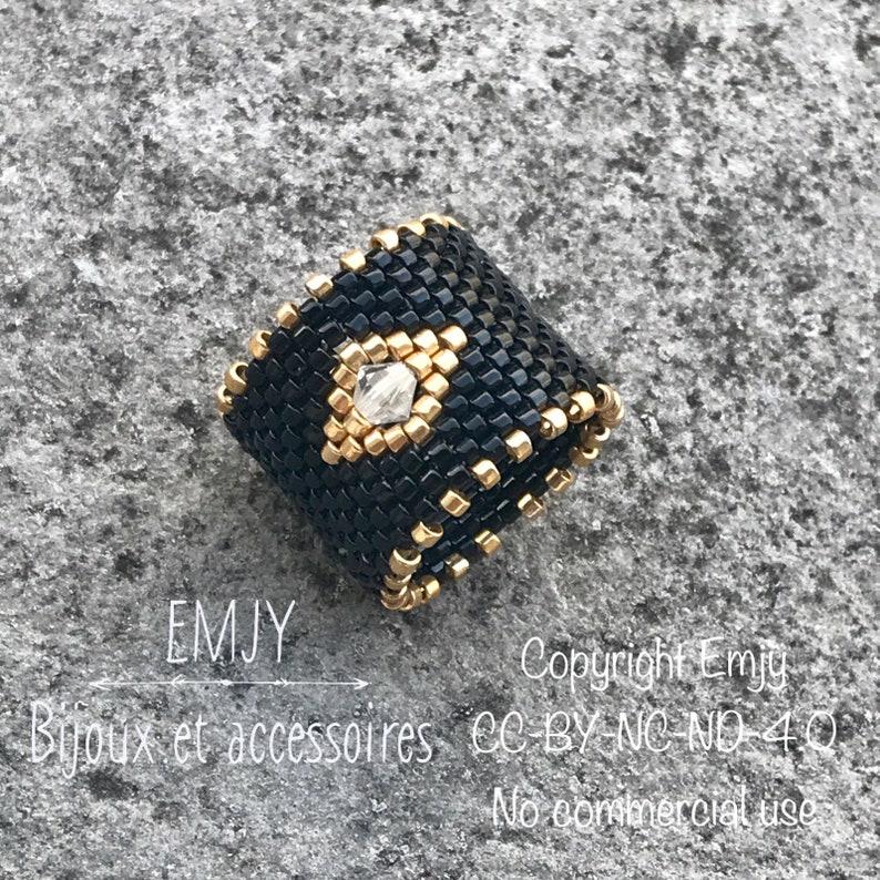 BAG04  Ring woven into miyuki delicas beads and Swarovski image 0