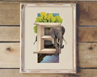 Animal Letters Monogram Print | E, Elephant | Living Lettering Illustration