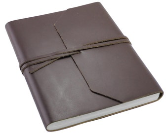 Genuine Brown Leather Wrap Journal