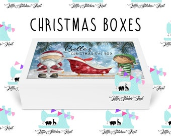 Christmas eve box, wooden box with lid, printed in bright christmas designs personalised