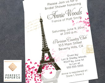 Paris bridal shower etsy eiffel tower paris heart bridal shower invitation french shower invitation paris bridal shower french bridal shower customizeable filmwisefo