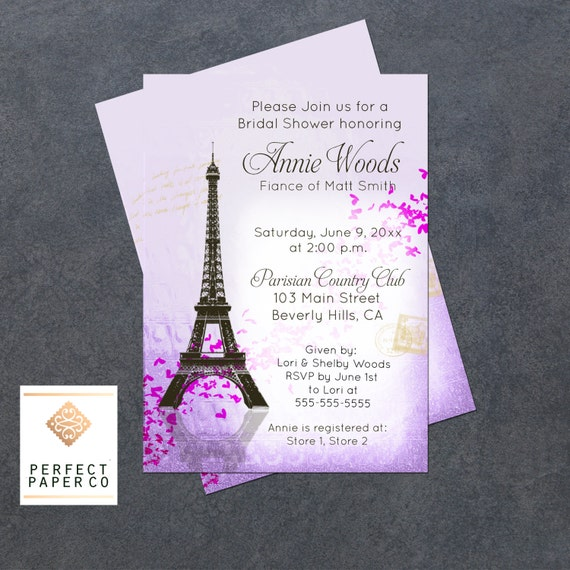 Eiffel tower paris heart bridal shower invitation french etsy image 0 filmwisefo