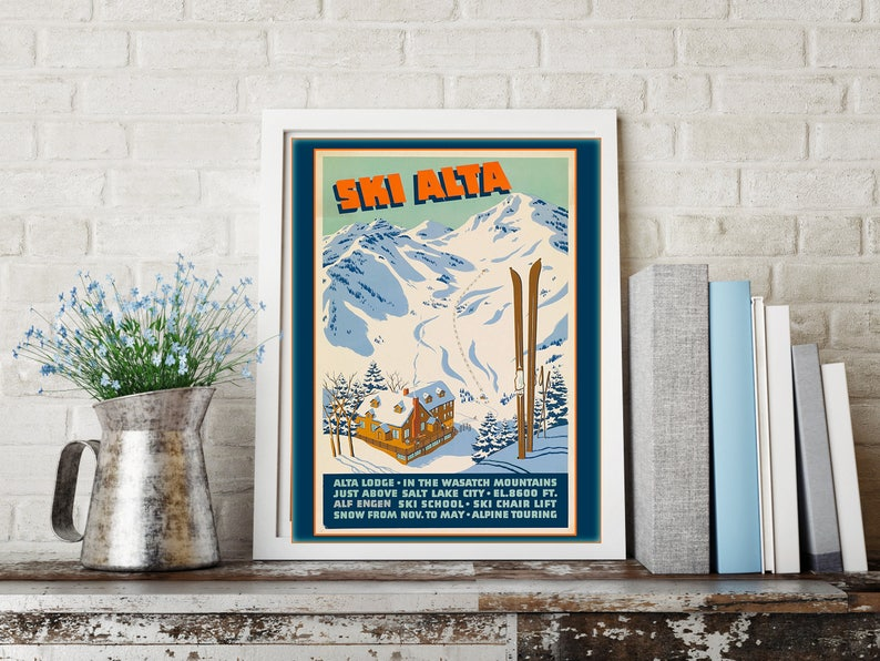 Ski Alta Poster Wall Art Home Decor Poster Skier Alta image 0
