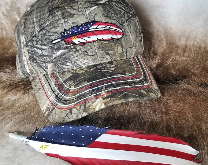 Camoflauge American Feathers Hat
