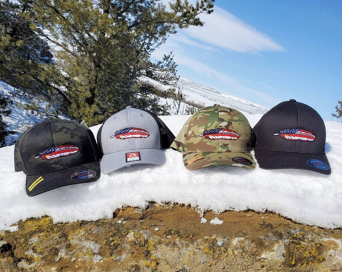 Classic American Feather FlexFit Hats (Small/Medium)