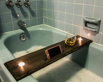 Wood Bath Caddy For Stemless Or Stemmed Wine Glass, Beer, Drink, Candles,  And Phone/iPad/Kindle, Bath Table, Bath Tray, Unique Gift