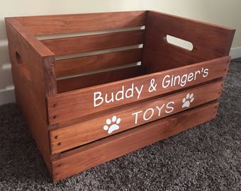 Personalized Wooden Crate For Cat/Dog/Pet Toys, Rustic Toybox For Your Pet