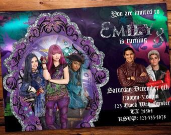 Descendants 2 Invitation, Descendants 2 Invite,Descendants 2 Party, Descendants 2 Birthday, Descendants 2 Digital, Descendants 2 Printable