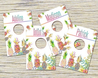 Pineapple Clothing Rack Price Hanging Dividers, Clothing Name Style Divider for Clothes Racks, Hanger Tags , White Flowers