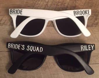 Bride's Squad Sunglasses - Bachelorette Party Sunglasses - Custom Sunglasses - Personalized Sunglasses - Bride and Bride's Squad Sunglasses