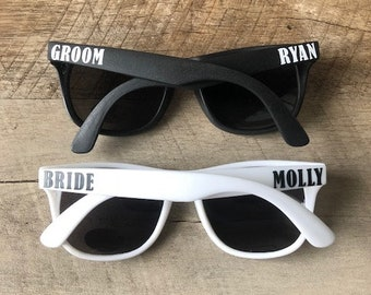 Bride and Groom Sunglasses - Bride & Groom Sunglasses with Names - Custom Sunglasses - Personalized Sunglasses - Bride Sunglasses