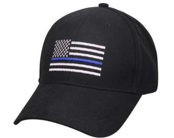 Thin Blue Line America Flag Low Profile Tactical Baseball Cap 8abc90fedd2