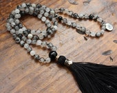 Tourmalinated Quartz Mala, I Am Grounded Mala, 108 Bead Mala, 6mm Quartz Beads, Handmade Silk Tassel, Meditation Japa Mala, Yoga Mala, Boho
