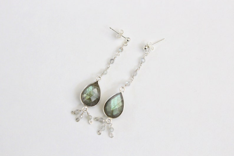 Labradorite Earrings Sterling Silver Statement Faceted Teardrop Gemstone Wire Wrap Jewelry Delicate Bluey Green Flash Bezel Set