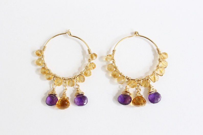14k Gold Filled Hoops AAA Grade Gem 28mm Gemstone Hoop Earrings Minimalist Citrine /& Amethyst Hoop Earrings Wire Wrap Delicate Jewelry