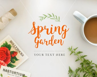 Spring mockup | Digital styled frame | Styled postcards | Floral pillow | Coffee | Top shot mockup | Place for quote | Instant download