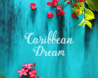 Styled stock background | Caribbean style | Rustic blue | Turquoise background | Home decor | Floral  | High Res | Instant download