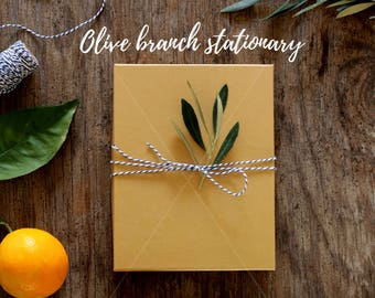 Gift box image| Olive stationary | Styled image | Kraft paper box | Olive branch | Golden gift box | Rustic background | Instant download