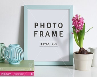 4x5 mockup | Blue Frame mockup | Portrait frame | PSD file | Frame on sideboard | Styled stock photo | 8x10 Photo frame | Instant download