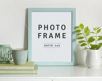 8x10 mockup | Portrait Frame mockup | PSD file | Styled frame on sideboard | Mockup design | 4x5 Photo frame | Instant download