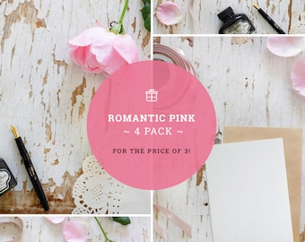 Romantic mockups | Save the date template | Wedding backgrounds | Anniversary images | 4-pack | Creative set | High res | Instant download