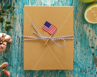 Box from USA | USA flag | Kraft box mockup | Box with flag mockup | Made in USA | Gift box | Etsy sellers | Recipes box | Instant download