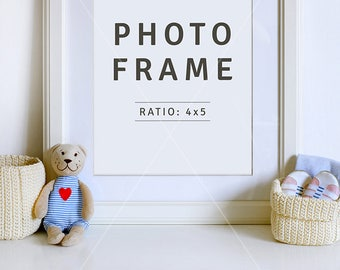 Family picture mockup | 8x10 frame PSD | Portrait frame | PSD file | Newborn announcement | Baby frame | Teddy bear | Instant download