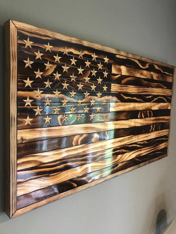 Large Handmade Burned Wood American Flag Etsy