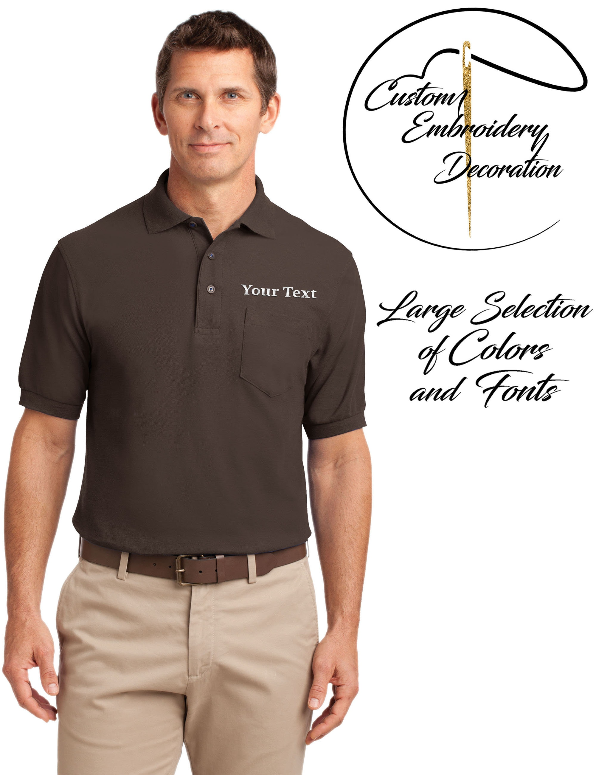 Custom Embroidered Mens Polo Shirts With Pockets Embroidery Etsy