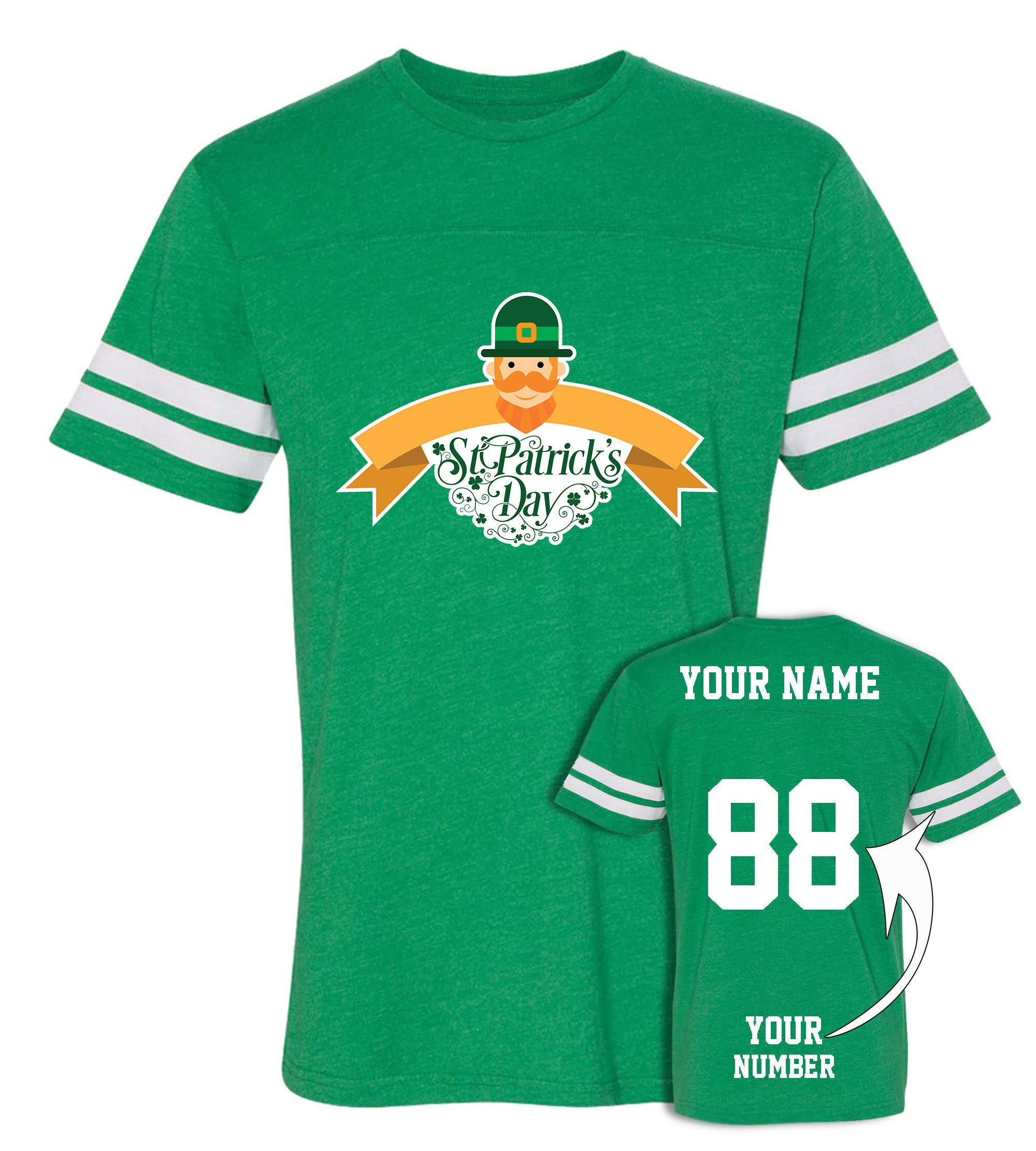 Custom Jersey Style St Patricks Day T Shirts Saint Pattys Etsy