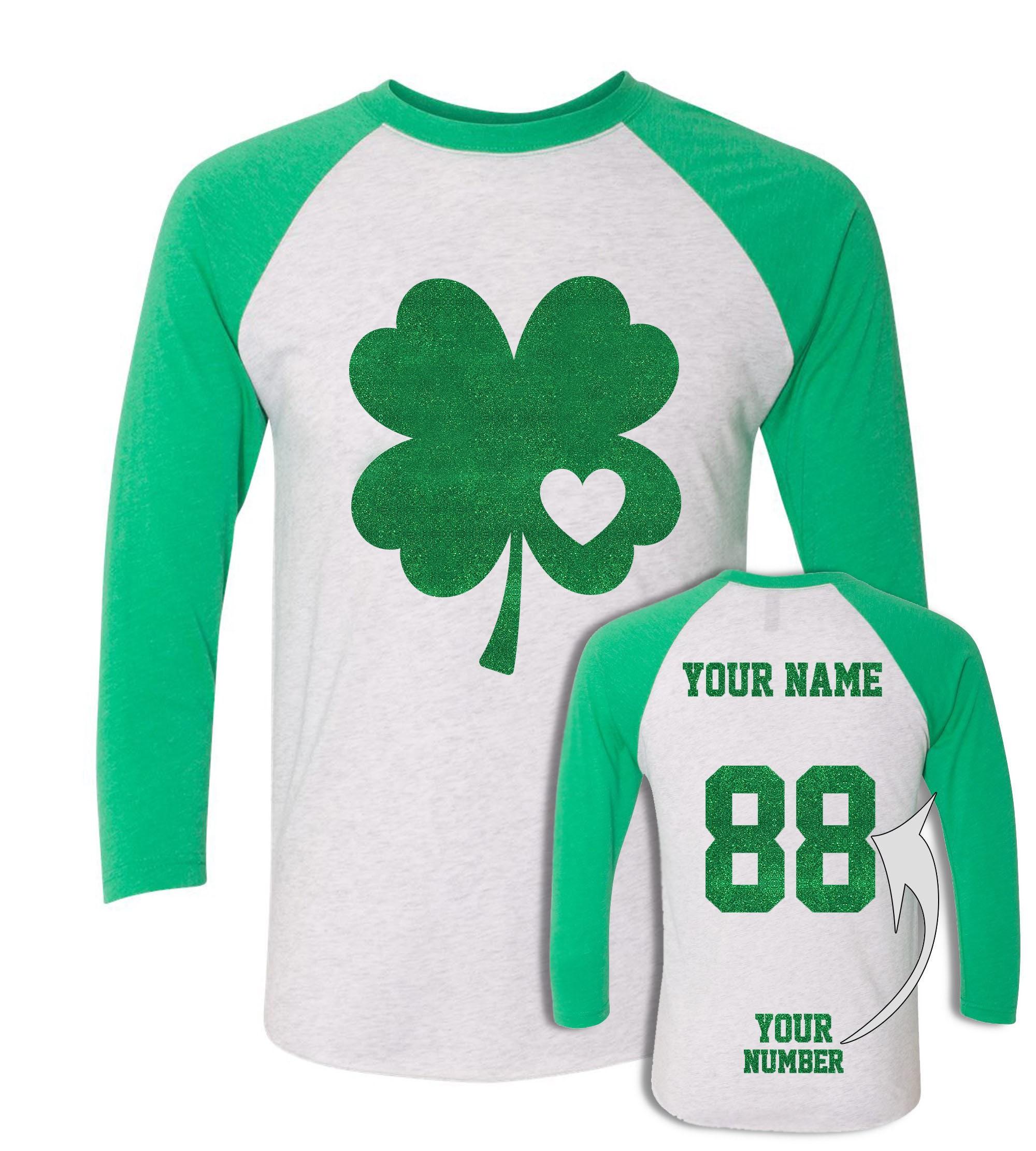 Sparkly Glitter St Patricks Day T Shirts Custom Jersey Etsy