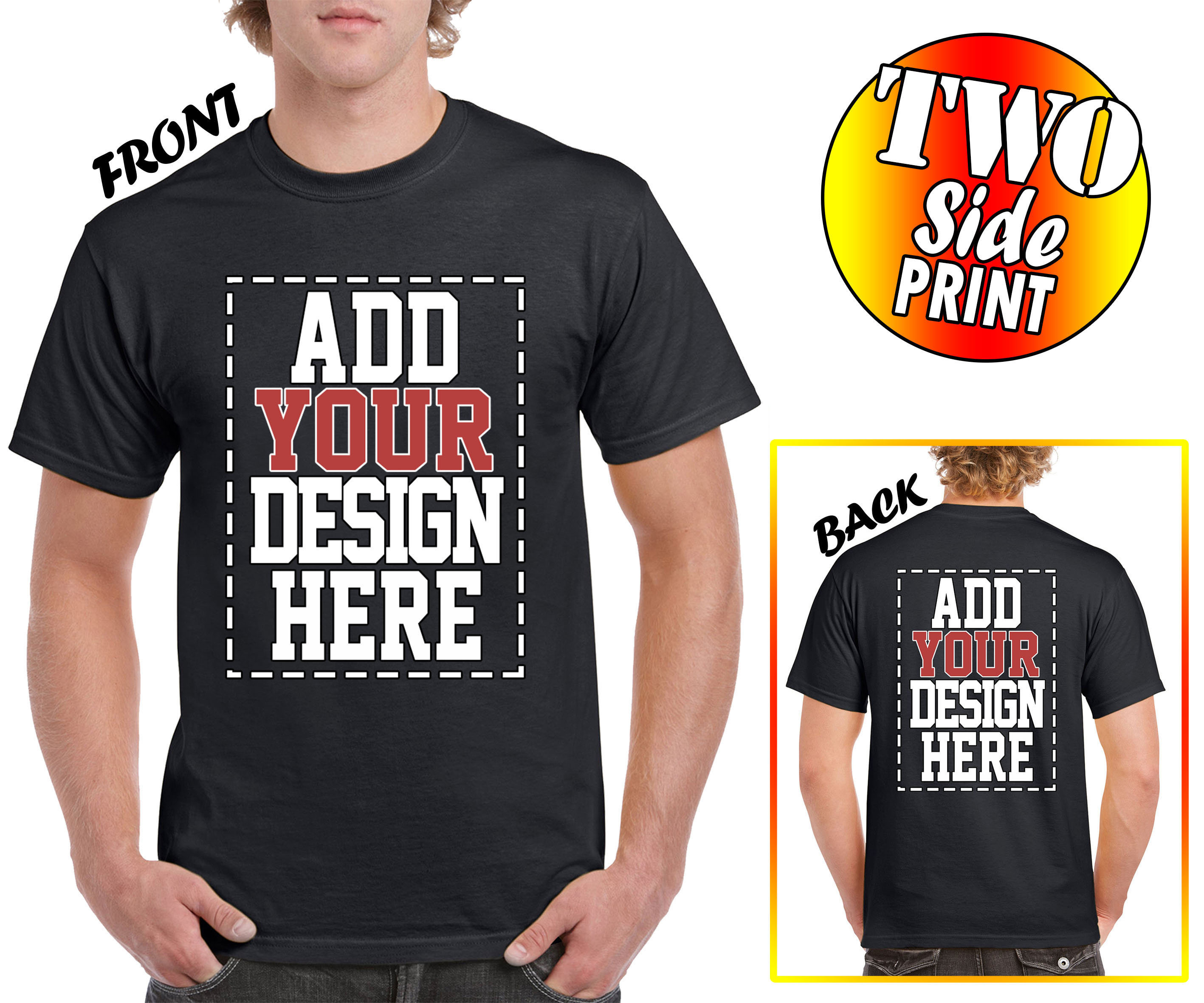 Custom 2 Sided T Shirts Design Your Own Shirt Front And Etsy