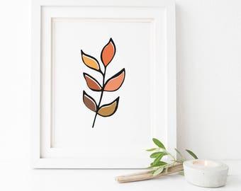 Single leaf - Autumn print - digital print - A3,11x14,A4,8x10.