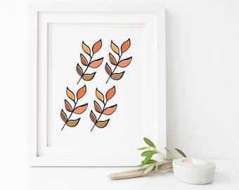 Four leaves - Autumn print - digital print - A3,11x14,A4,8x10.