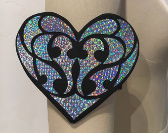 Holographic Heart Cuff   Rave Jewelry   Rave Accessories   Heart Bracelet   Iridescent   Gifts For Her