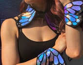 Holographic Butterfly Collar and Braces | Butterfly Costume | EDC Outfit | Arm Braces | Burning Man
