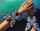 Holographic Butterfly Arm Braces (Pair) | Halloween Costume Jewelry | Rave Accessories | Cosplay | Butterfly Costume | 3D Bracers | EDC