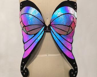 d3fac6e737d14 Holographic Butterfly Bra Black Rainbow Rave Bra EDC